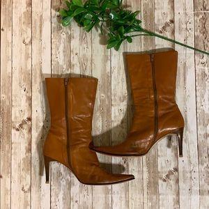 Shoes - Gorgeous Italian Carmel leather heeled boots